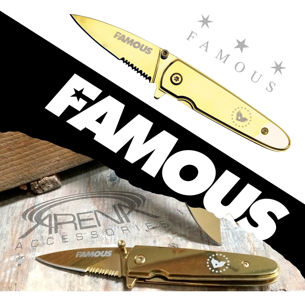 Famous Stars & Straps Goldie Pocket Knife Officially Licensed FSAS Travis Barker Blink 182 Gold EDC