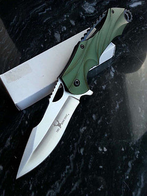 Tactical Pocket Knife Spring Assisted Blade ARMY Green ALL METAL w/ Jimping EDC