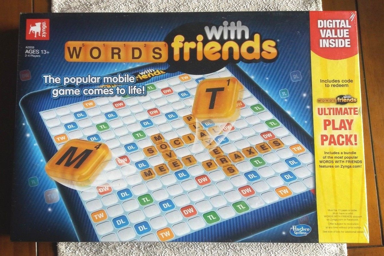 SEALED Words With Friends Board Game Zynga 104 Scrabble Tiles+FREE Digital Code!