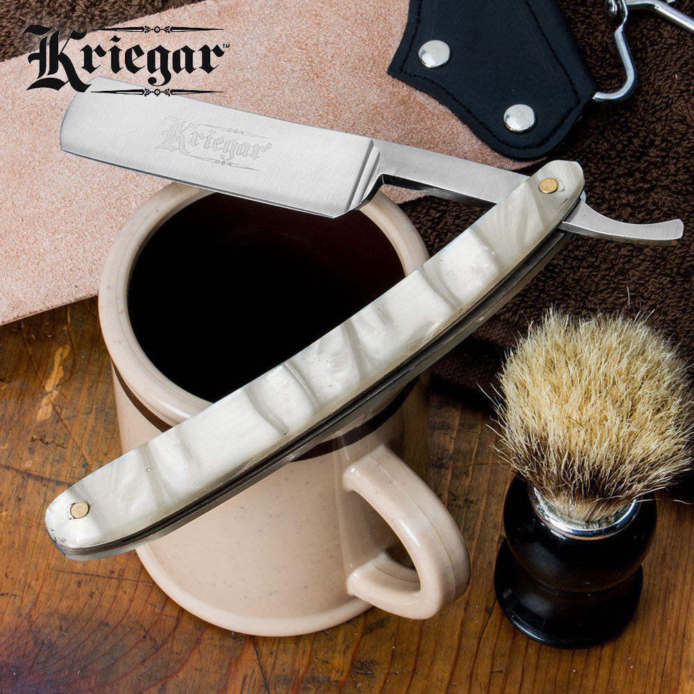 Kriegar German Style Shaving Straight Razor w/ Pearl Acrylic Handle Barber Folding Blade