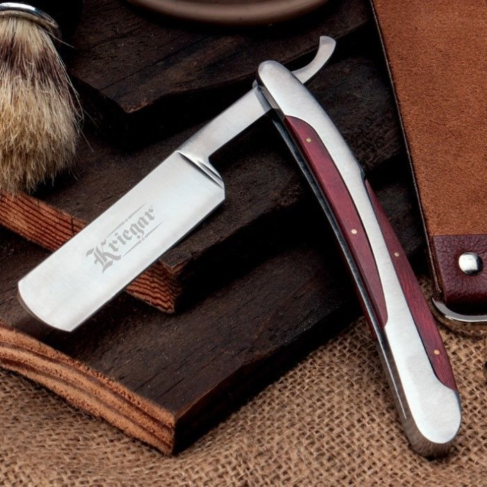 Kriegar German Style Shaving Straight Razor w/ Wood Handle Barber Folding Blade