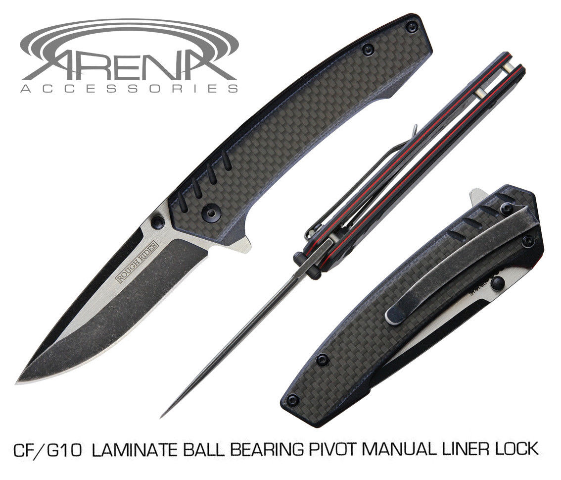 REAL Carbon Fiber G10 Laminate Scale Flipper Knife w/ Deep Carry Pocket Clip & Ball Bearing Pivot