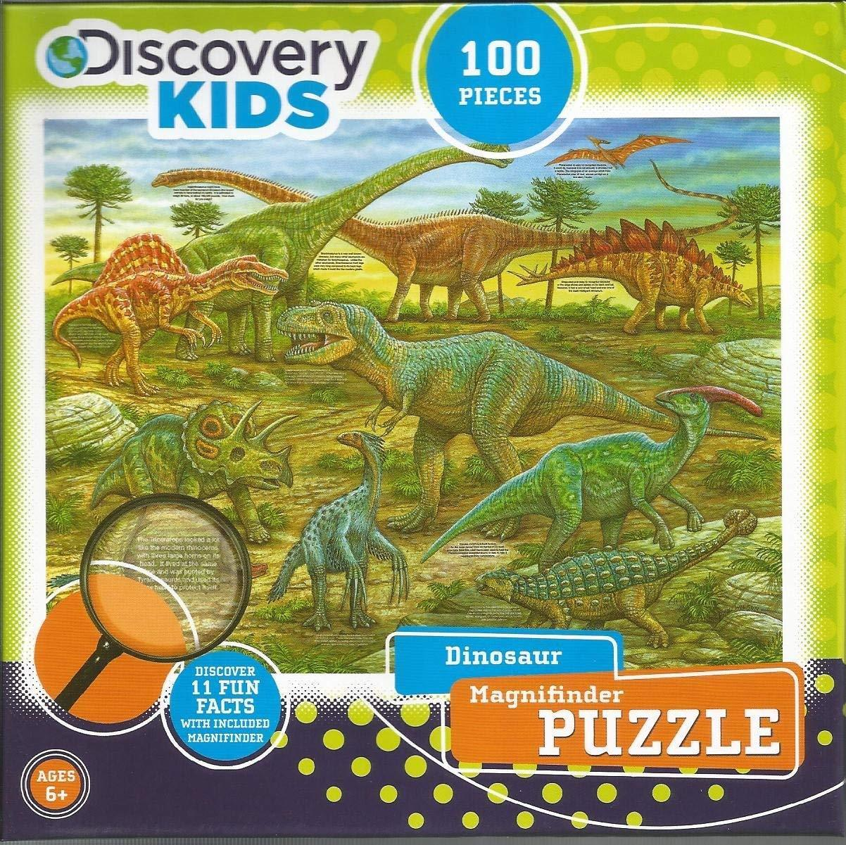 Discovery Kids Dinosaur 100 Piece Puzzle Magnifinder Fact Brontosaurus T-Rex
