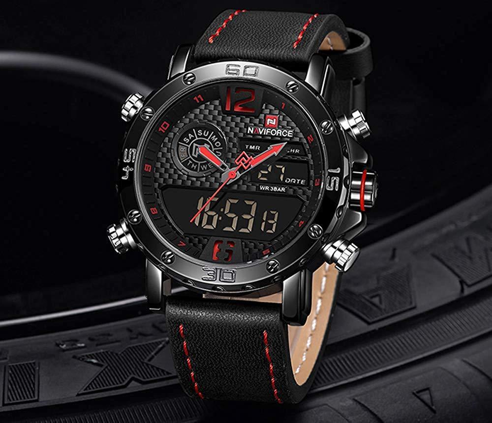 Naviforce 9134 Men Leather Dual Digital&SEIKO Quartz Mvmt Watch Carbon Fiber Red