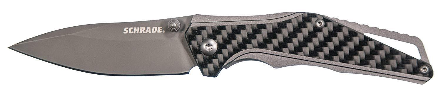 Schrade REAL Carbon Fiber Gray Titanium Pocket Knife Folder 9Cr18MoV Drop Point
