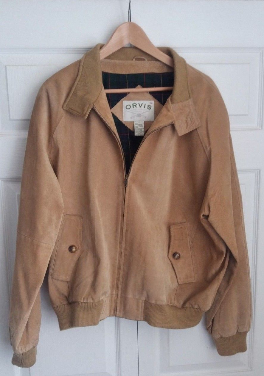 Mens ORVIS Tan Leather Suede Harrington Plaid Liner A2 Flight Bomber Jacket L