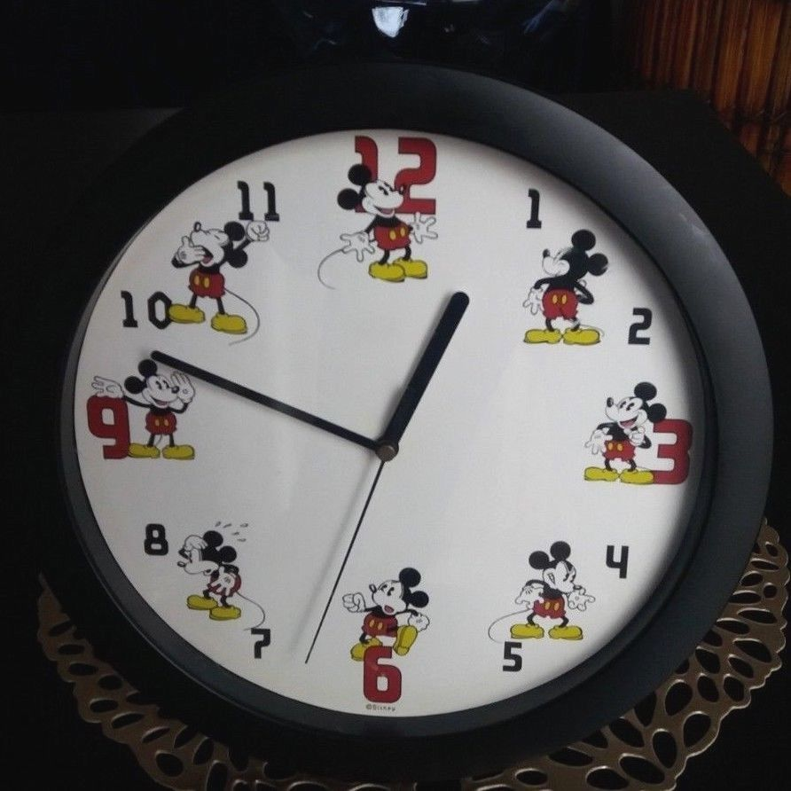 Mickey Mouse Disney Wall Clock Vintage 90s Collectible Black Plastic Frame