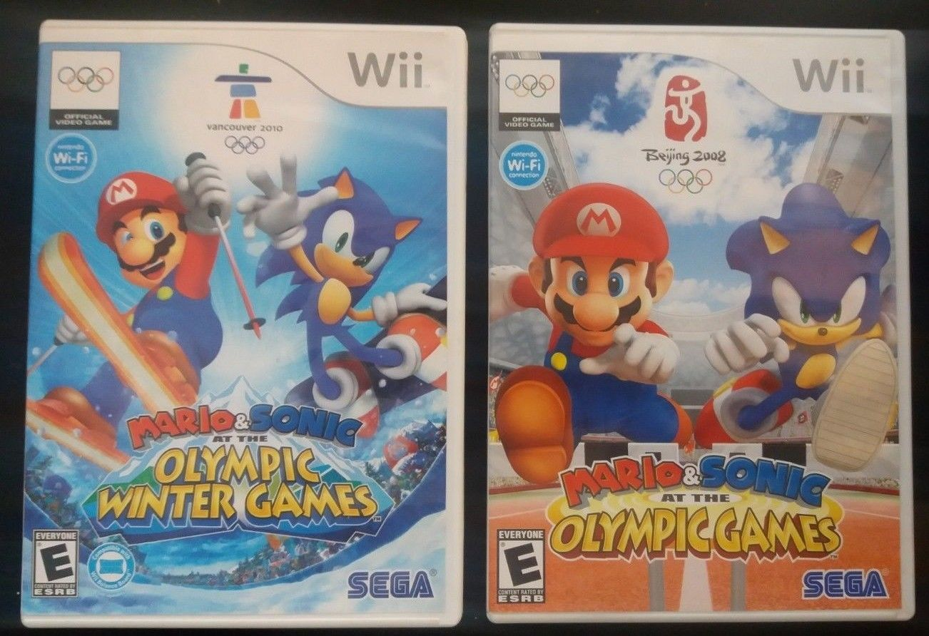 Mario & Sonic Olympic & Winter 2 Games Wii Bundle Lot Beijing Vancouver TESTED