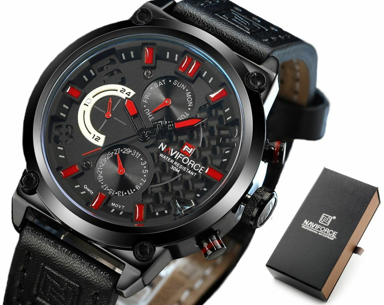 Naviforce Men Leather Japan SEIKO Quartz Mvmt Watch REAL Carbon Fiber Face Red