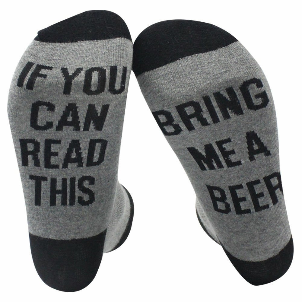 IF YOU CAN READ THIS BRING ME A BEER Sock Funny Gag Gift Unisex Black Gray IPA