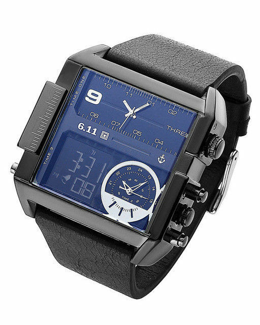 6.11 Retro Style Quartz Watch Square Mens Leather Dual LCD Digital 3 Time Zone
