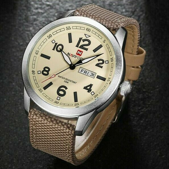 NAVIFORCE 46mm Men Army Military Sport Watch Day Date 30M Japan Seiko Mvmt 9101