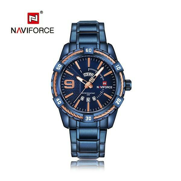 NAVIFORCE Mens Blue Stainless Watch Japan SEIKO Quartz Mvmt Blue FAST USA SHIP