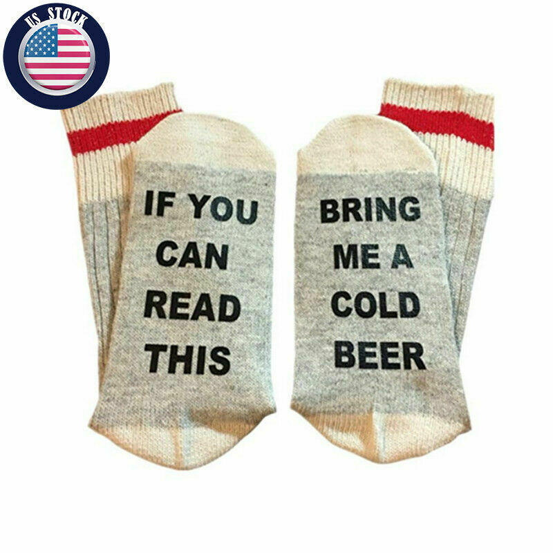 IF YOU CAN READ THIS BRING ME A COLD BEER Sock Funny Gag Gift Unisex Gray IPA