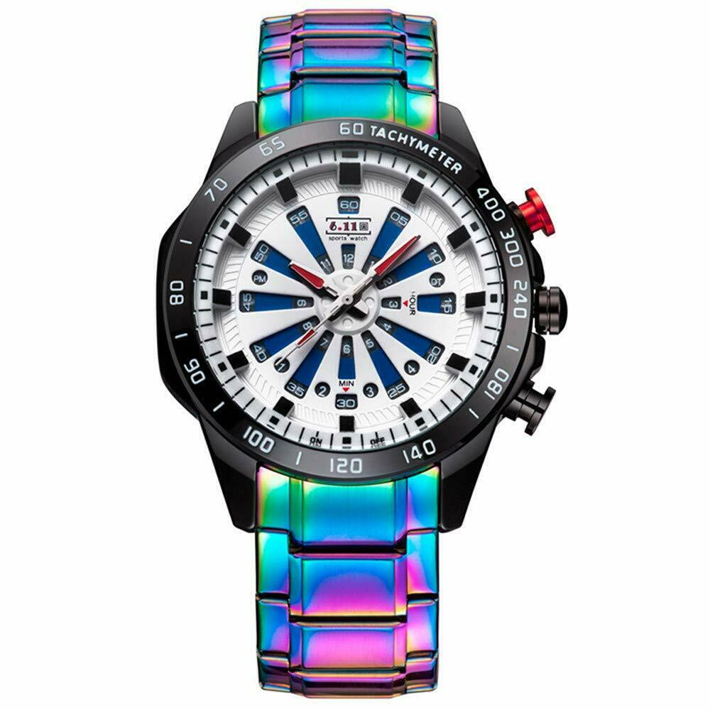 Rainbow Fade Iridescent Mens Luxury Watch Stainless Steel 46mm Face Japan Mvmt