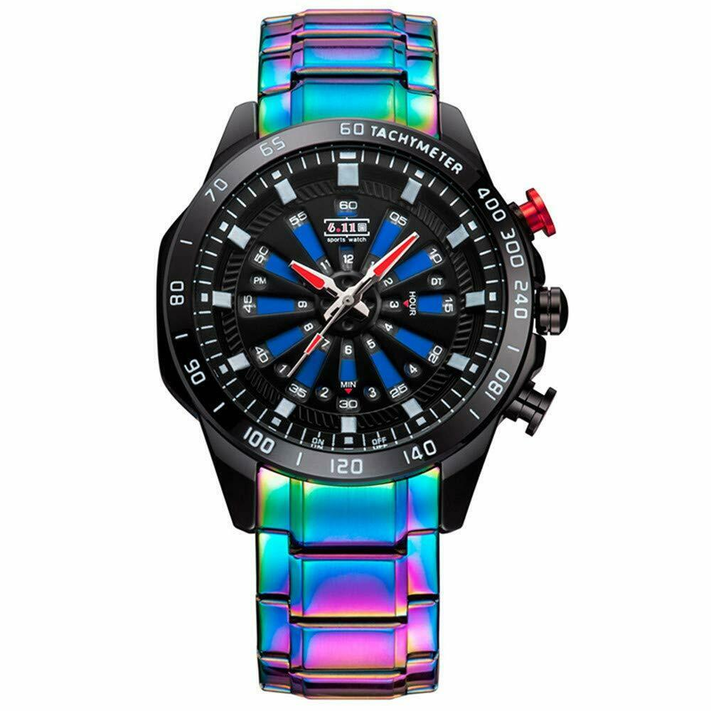 Iridescent Rainbow Fade Men's Luxury Watch Stainless Steel 46mm Face Japan Mvmt