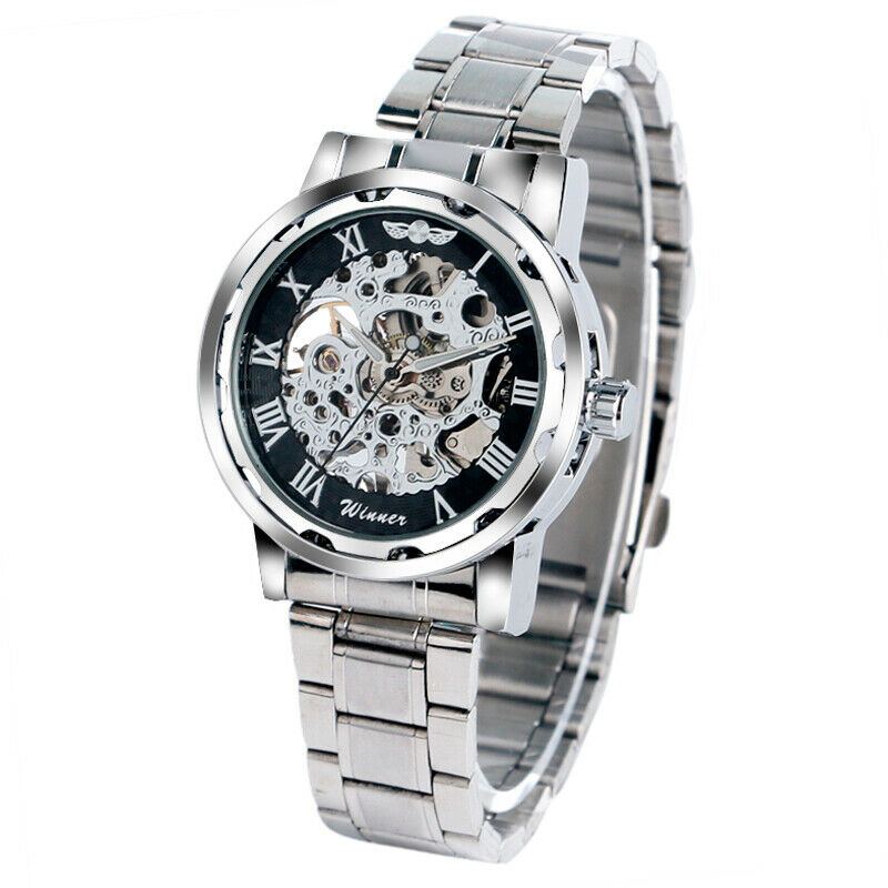 WINNER Hand-Winding Mechanical Skeleton Stainless Steel Mens Womens Wrist Watch