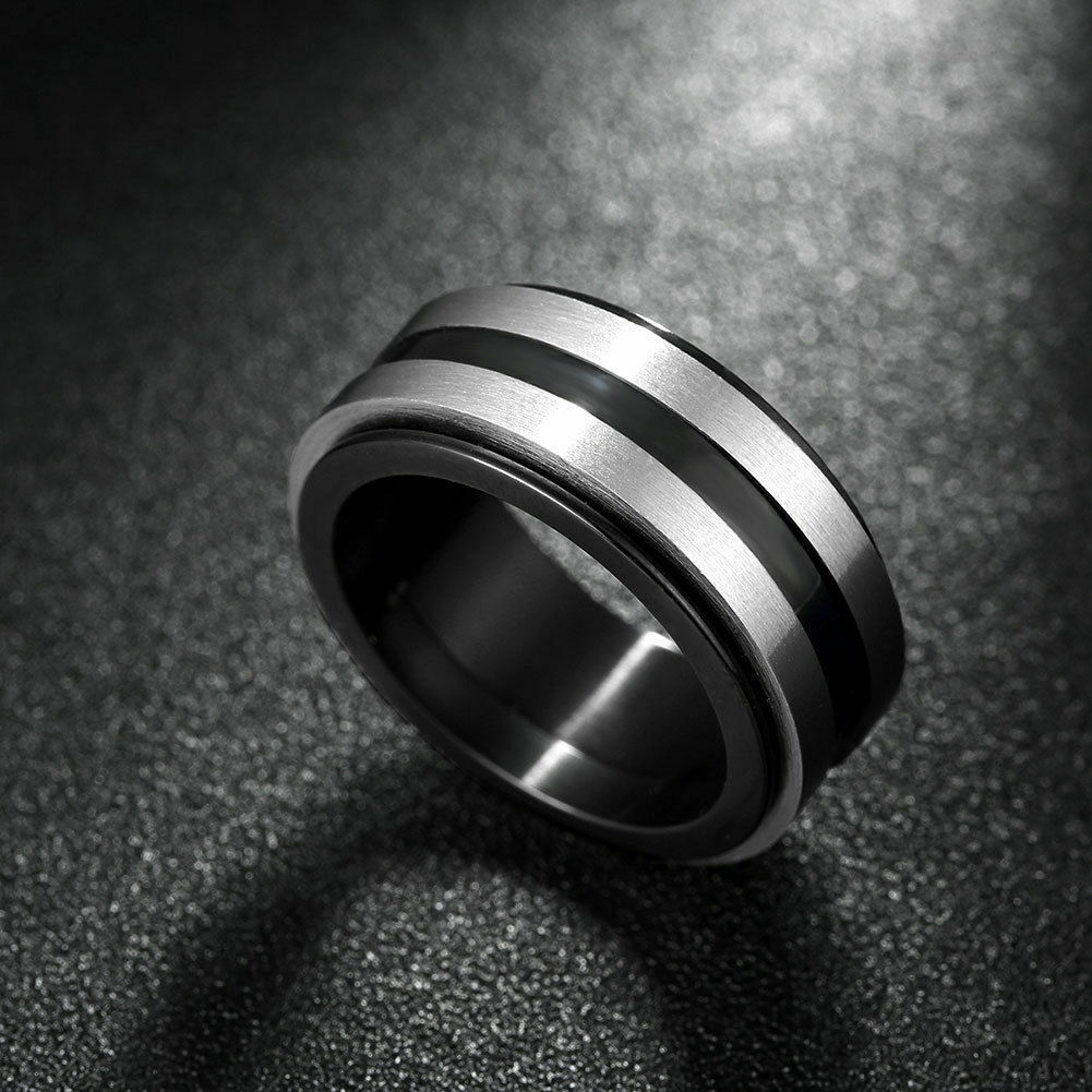 Mens 316L Stainless Steel Spinner Ring Fashion Black Silver Size 10 USA Stock