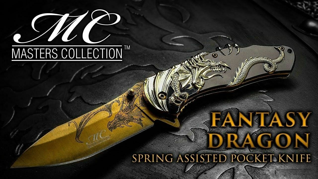 Collectors Gold Chrome Dragon Spring Assist Open Folding Pocket Knife w/Gift Box