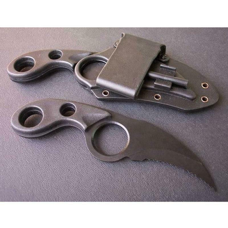 Concealed Carry Fixed Blade Knife Finger Hole Self Defense Horizontal Sheath EDC