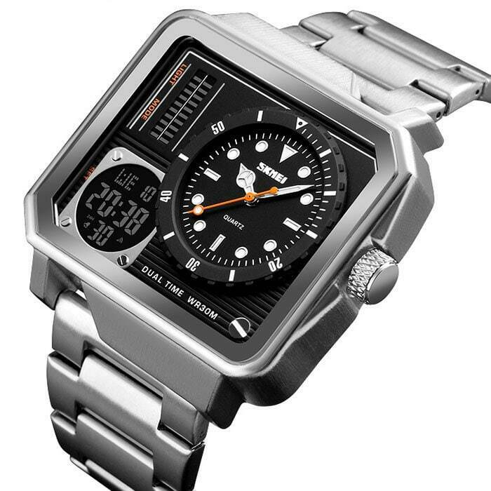 SKMEI Retro Style Quartz Mens Watch Square Japan Seiko Mvmt Stainless Dual Zone