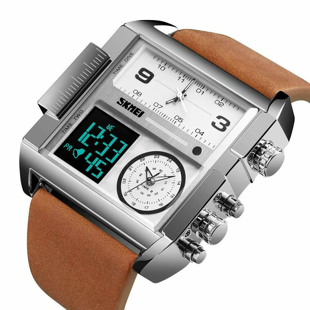 SKMEI Retro Square Watch Mens Leather w Japan Seiko Mvmt Dual LCD Digital 3 Zone
