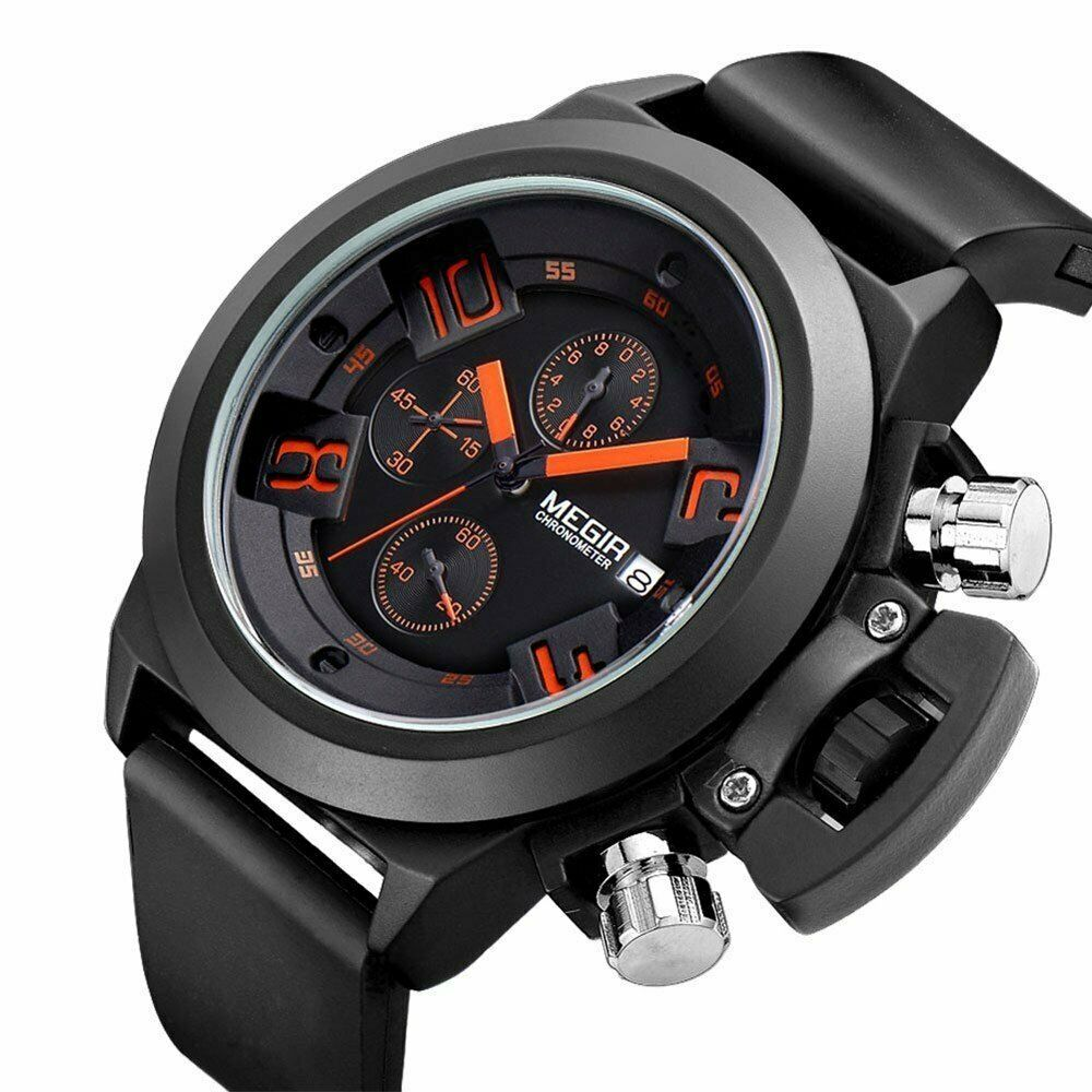 MEGIR Big Face Quartz Wrist Watch Army Diver Stopwatch Silicone Band Mens Gift