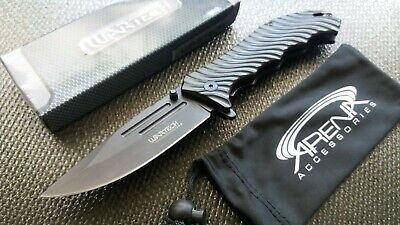 Black All Metal Spring Assist Pocket Knife Tactical Wavy Aluminum Grip EDC Tool