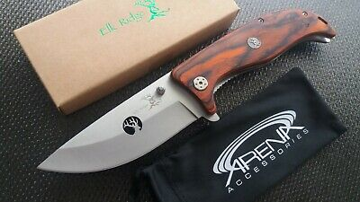 HUGE Bowie Size Pocket Knife Wood Handle 4