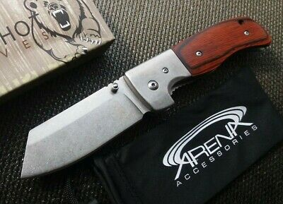 Sheepsfoot Cleaver Blade Wood Assist Open Metal Bushings FrameLock Pocket Knife