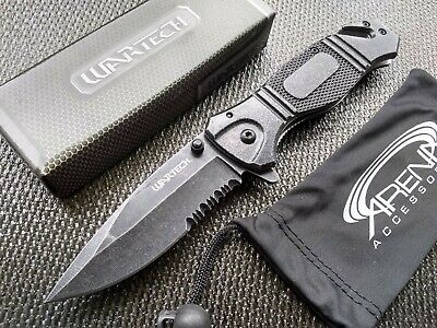 Glass Breaker Pocket Knife Black Stonewash Spring Assist Flipper Metal EDC Tool
