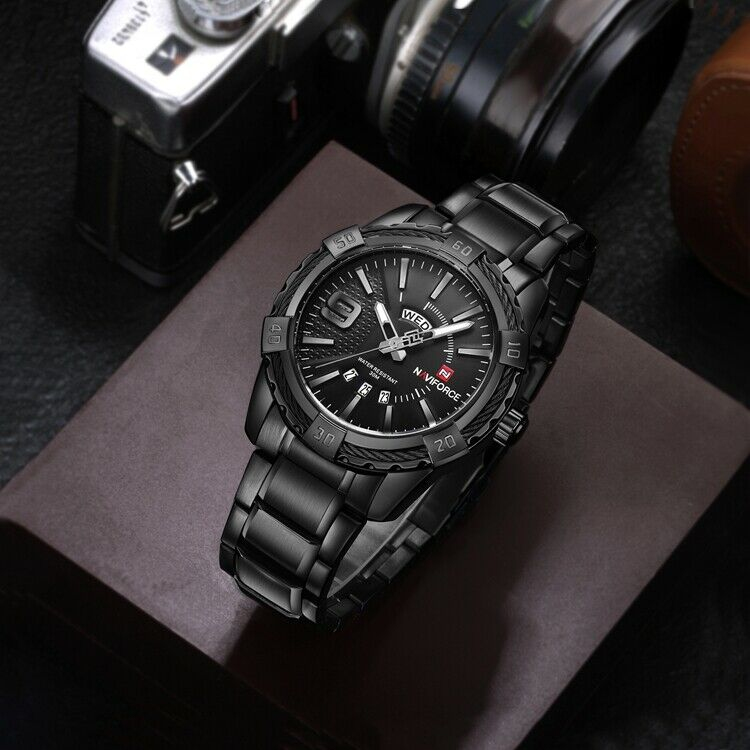 NAVIFORCE Mens Black Stainless Steel Watch Japan SEIKO Quartz Mvmt FAST USA SHIP