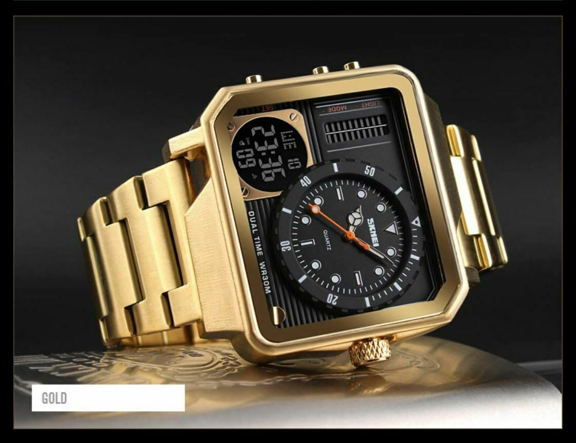SKMEI Retro Quartz Mens Watch Square Japan Seiko Mvmt Stainless Dual Zone GOLD