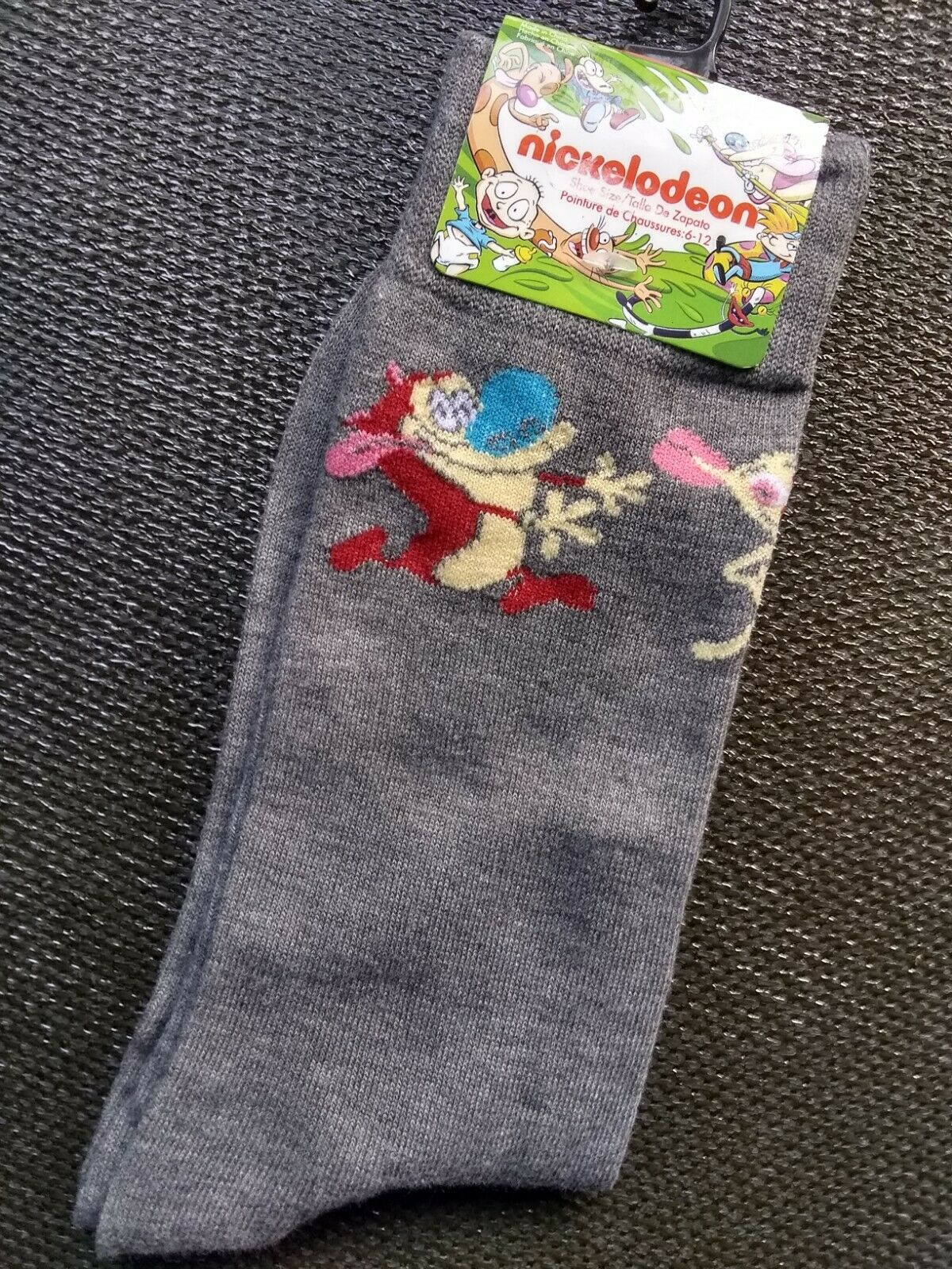 REN & STIMPY Mens 1 Pair Of Novelty Crew Dress Socks Size 6-12 Nickelodeon NEW