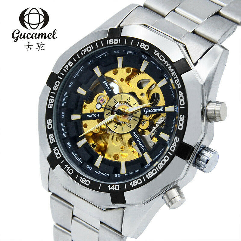Gucamel Self-Winding Automatic Mechanical Skeleton Mens Luxury Wrist Watch 45mm