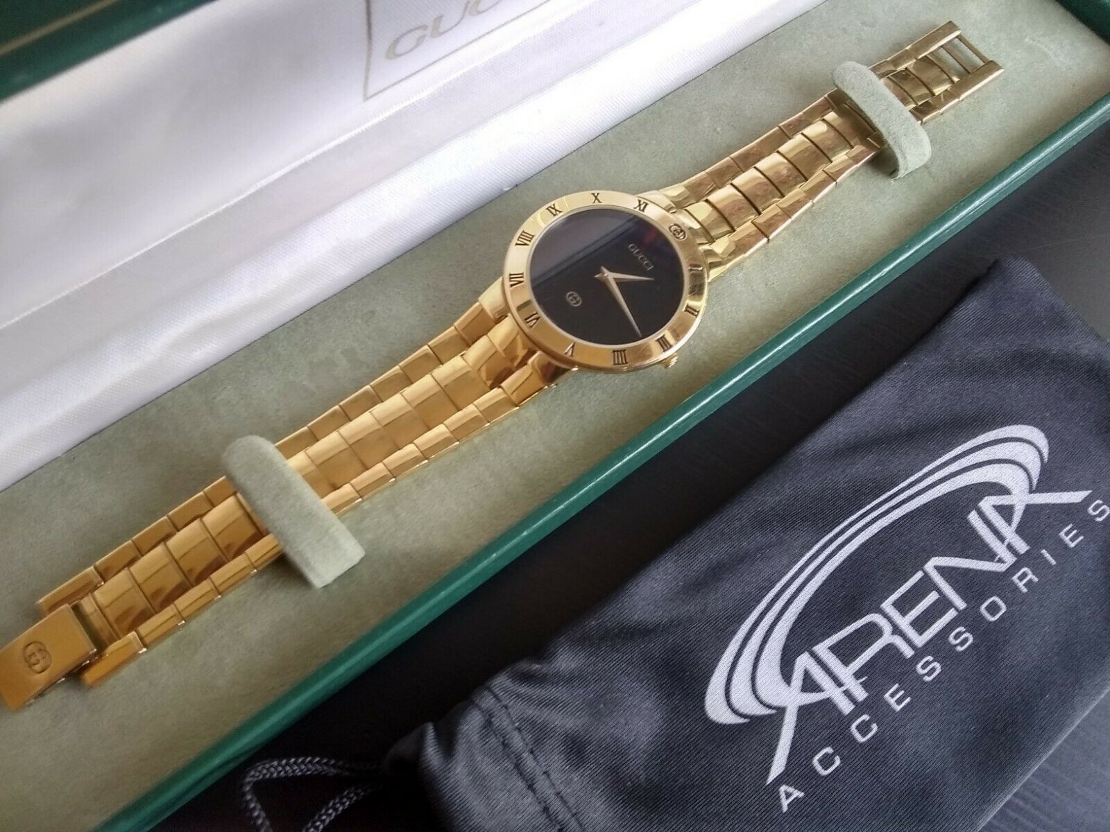 GUCCI 3300M Black Face Roman Numerals 18k Yellow Gold Plated Men's Swiss Movement Watch Original Box