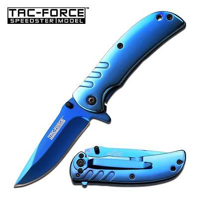 Lightweight Pocket Knife Blue Ti Coat Spring Assist Frame Lock Boy Scout Utility