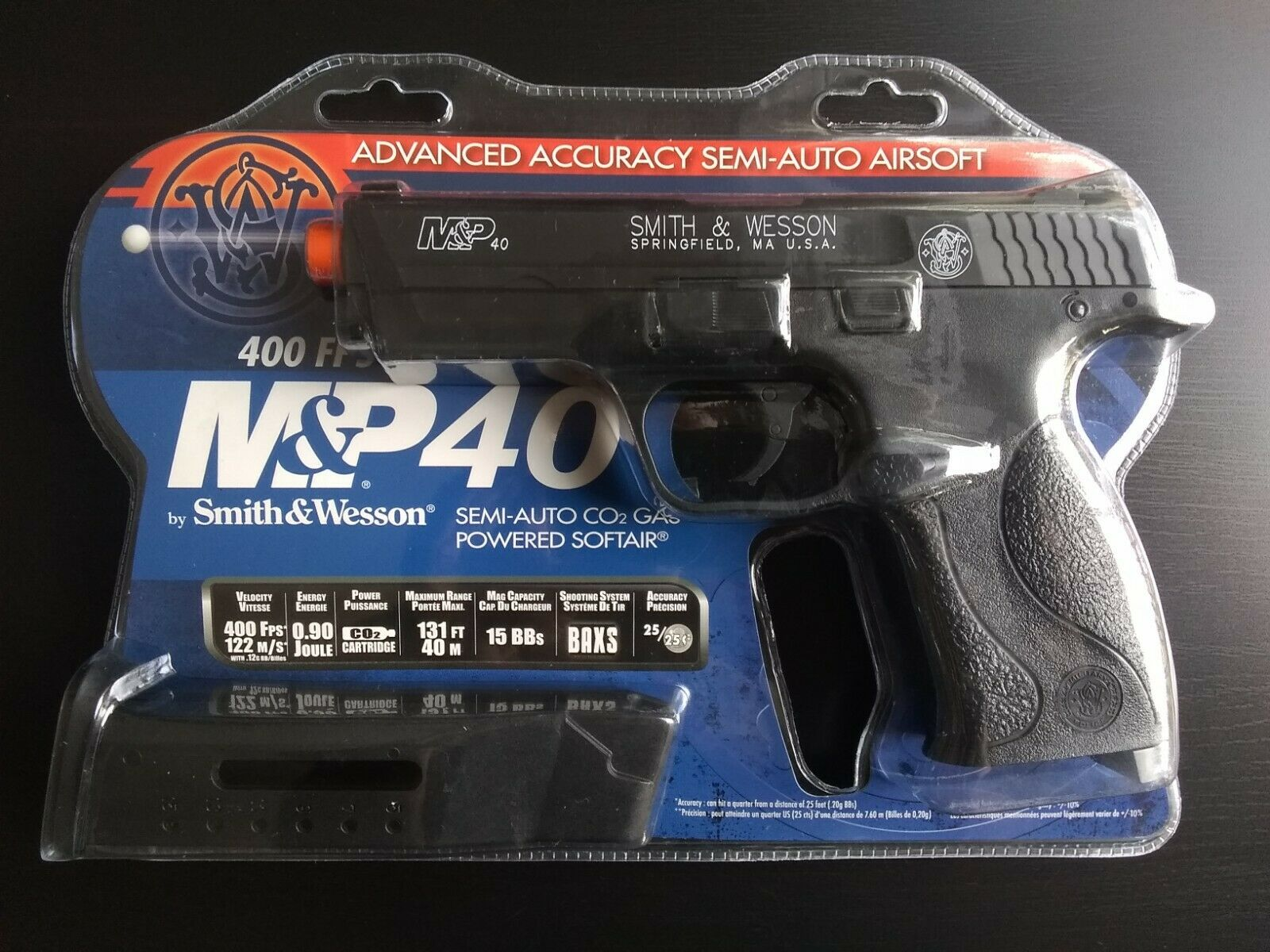 Smith & Wesson M&P 40 CO2 Airsoft Pistol 400 FPS Metal Barrel BAXS Non-Blowback