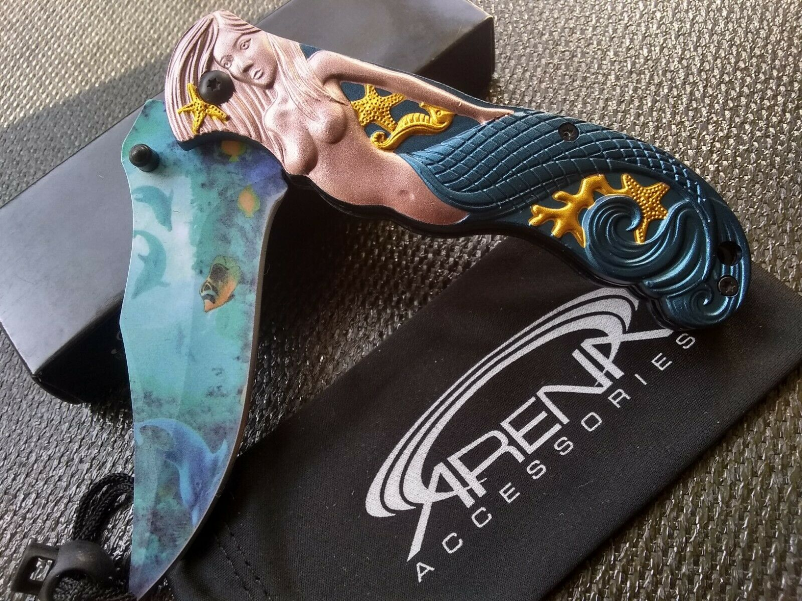 Mermaid 3D Sculpted Little Ariel Pocket Knife Womens Blue Sea Dolphin Blade EDC