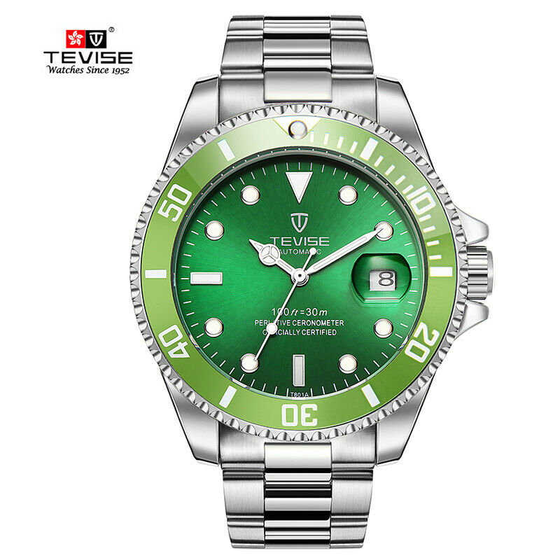 TEVISE Mens Luxury Automatic Mechanical Submariner Wrist Watch Diver with Date HULK GREEN Face