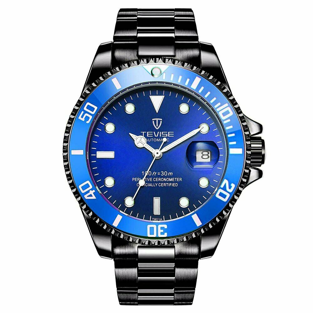 TEVISE Mens Luxury Automatic Mechanical Submariner Wrist Watch Diver BLUE BLACK