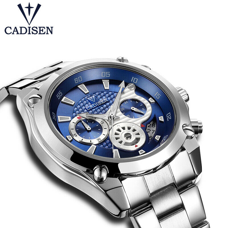 CADISEN Watch Luxury Japan Mvmt Carbon Fiber Textured Sub-Dial EDC 42mm Men BLUE