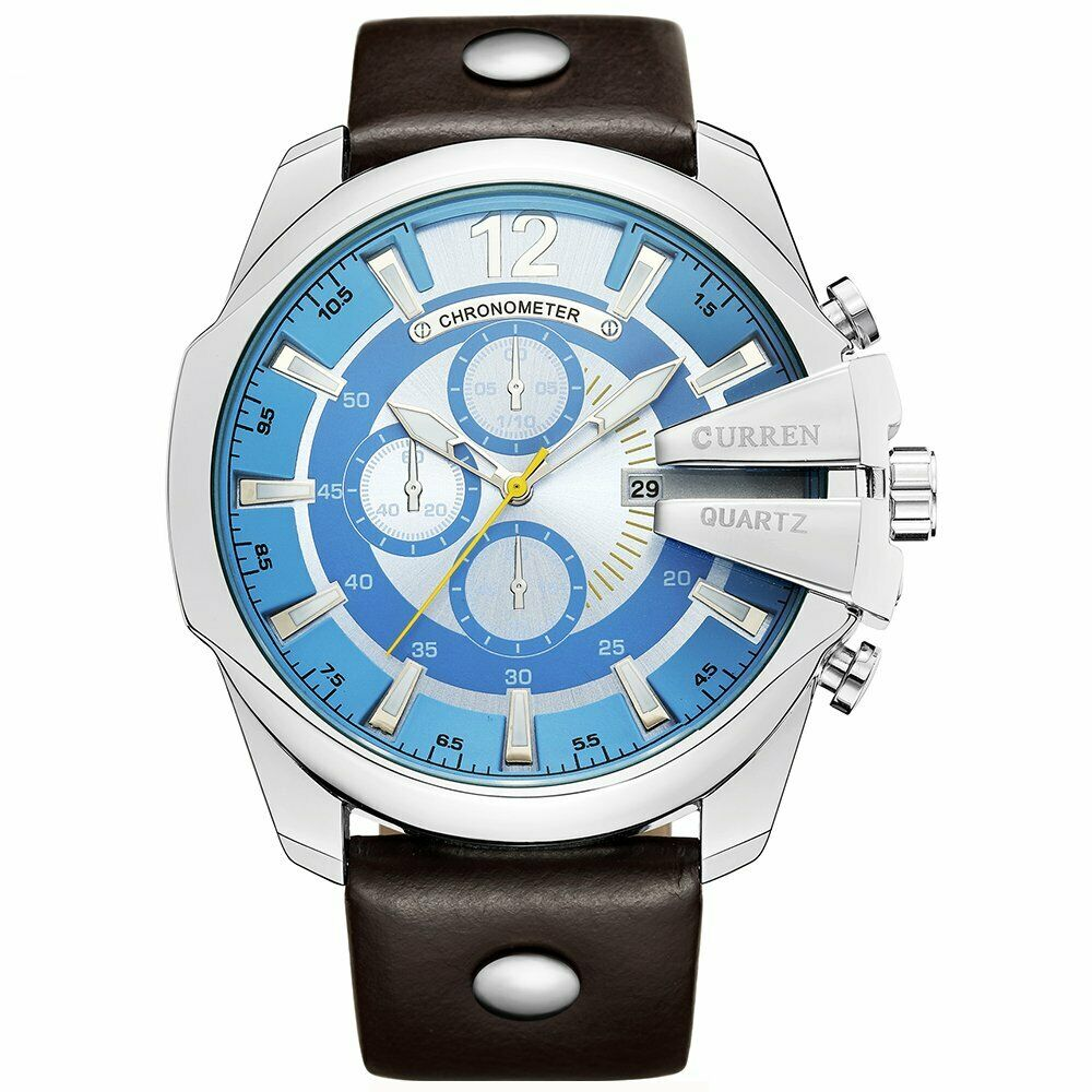 CURREN Men's Watch with Japan Miyota (Citizen) Quartz Mvmt Leather Band Baby Blue BIG FACE