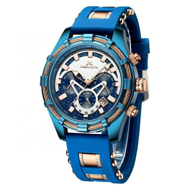 MEGALITH Men's Watch Quartz Movement BIG FACE Blue & Rose Gold Rope with Lume & Silicone Band