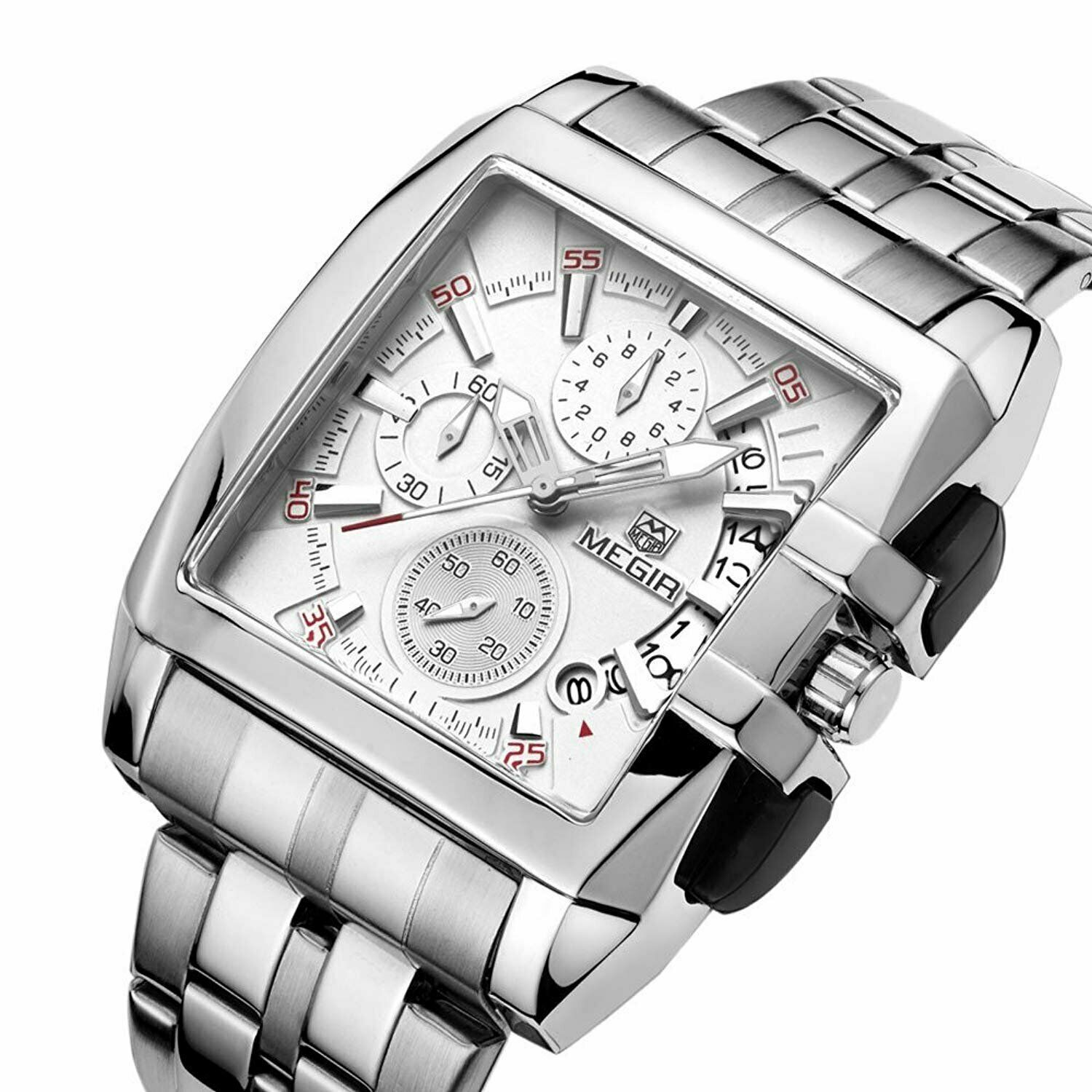 MEGIR Square Big Dial Wrist Watch Men Business Chronograph Quartz Stainless Band