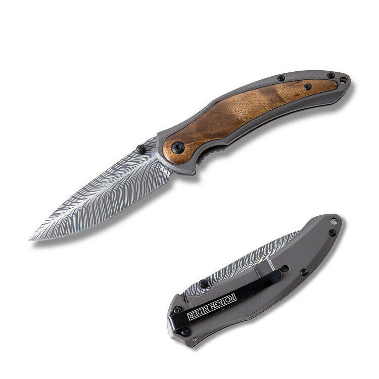 Burl Wood Handle Pocket Knife 440A Stainless Manual Open FrameLock EDC Blade