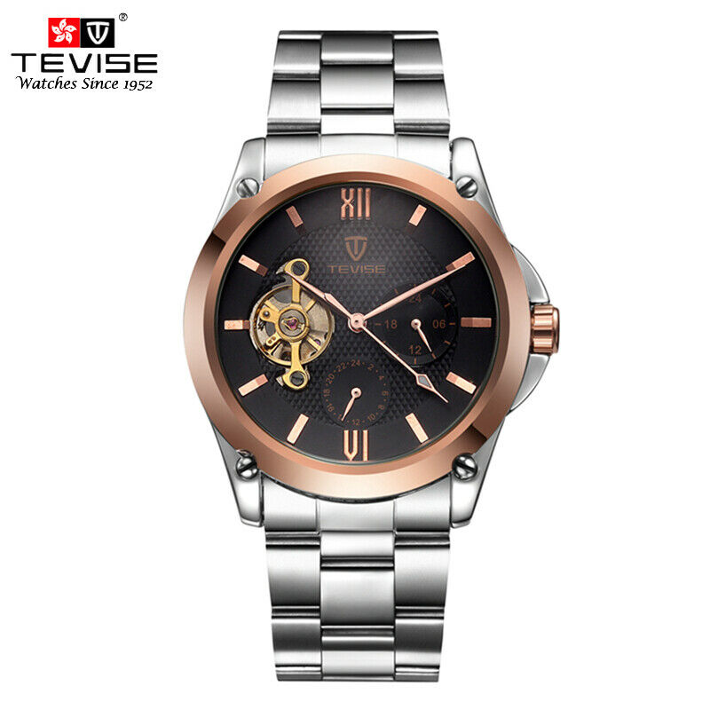 TEVISE 8502 Automatic Mechanical Luxury Stainless Men Wrist Watch 41mm Rose Gold
