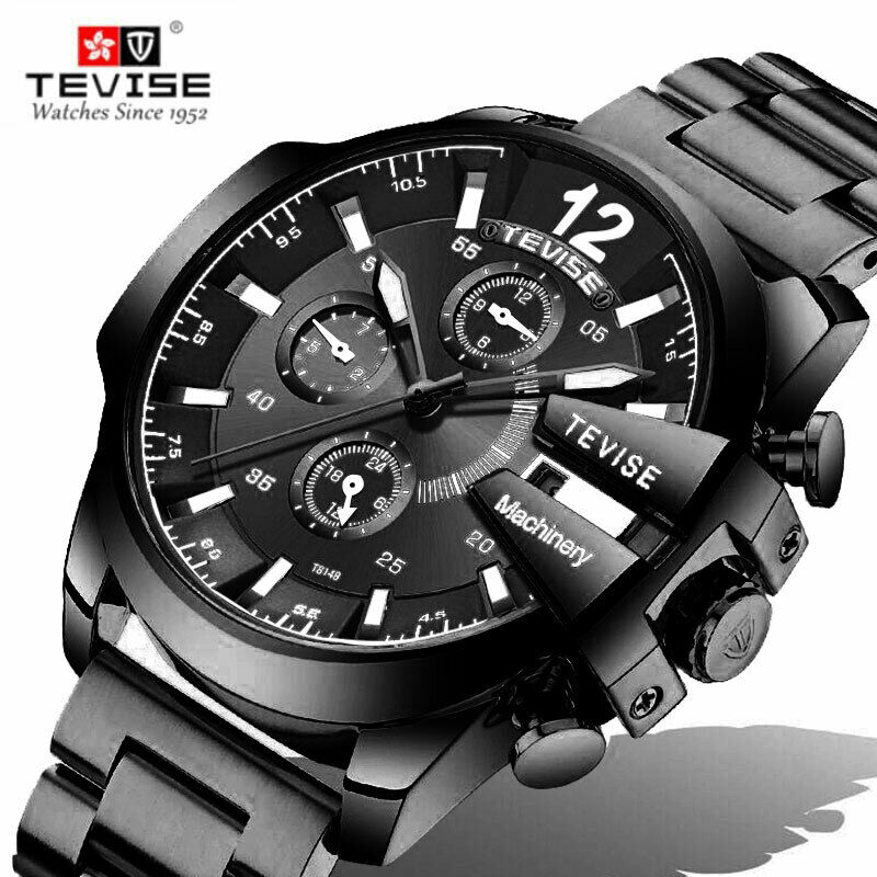 TEVISE 814B Automatic Mechanical Wrist Watch 46mm BIG FACE Working Subdial BLACK
