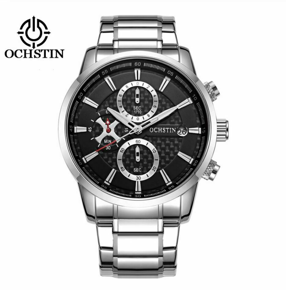 OCHSTIN Mens Quartz Mvmt Watch REAL Carbon Fiber Face Genuine CF Stainless Band