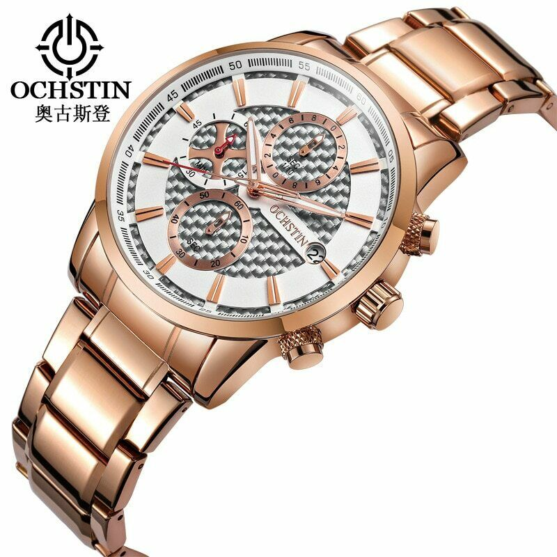 OCHSTIN Mens Watch REAL White Carbon Fiber Face Genuine CF Quartz Mvmt ROSE GOLD